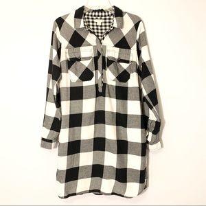J. Crew Factory Plaid Shirtdress Black/White Sz M